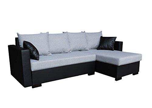 Preisvergleich Produktbild AVANTI TRENDSTORE - Ecksofa mit Schlaf- und Bettkastenfuntion aus Kunstleder in 2 verschiedenen Farben verfügbar, ca. 230x73x140 cm (schwarz/grau)