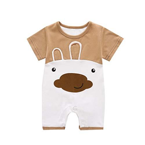 ingskleidung Baby Body Mädchen Neugeborenen Pyjamas Bär Dinosaurier Print Strampler Gemütliche Baumwolle Overall Weiche Outfits Taufe (Kaffee,3Monate) ()