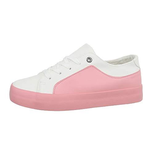 Ital-Design Damenschuhe Freizeitschuhe Sneakers Low Synthetik Weiß Rosa Gr. 41
