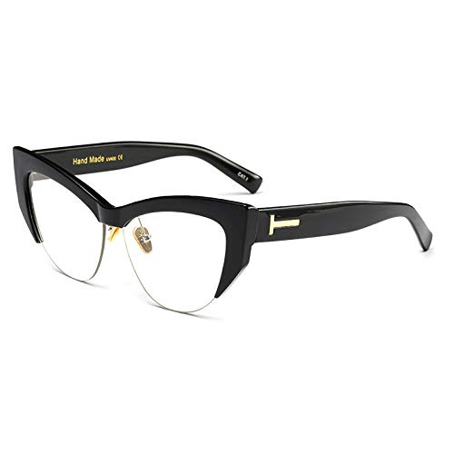 YMTP Transparente Katzenauge Gläser Rahmen Beige Semi Randlose Halbrand Brille Frauen, Schwarz