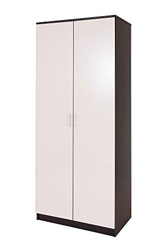 2 Door Double Wardrobe in White High Gloss & Black Frame