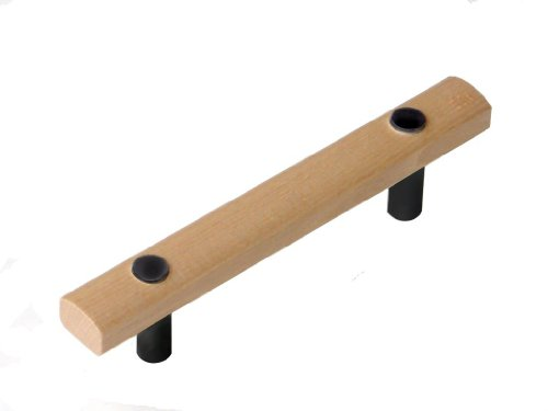1 x Solid Maple 96mm cabinet handle with black metal collars by Swish. by Swish (Brust Schubladen Buche)