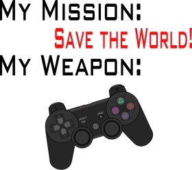 Mister Merchandise Tote Bag My Mission: Save the World - Gamepad Borsa Bagaglio , Colore: Nero Naturale