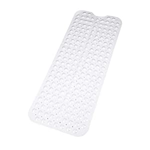 Bath Mat | Extra Long Non-Slip Suction Cups | Best Luxury Durable And Stylish In Bath Mat| White Anti-Slip Shower Runner | Modern Bath Mats Quality Suction Cup Design | Machine Washable & Latex Free