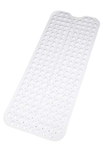 Bath Mat | Extra Long Non-Slip Suction Cups | Best Luxury Durable And Stylish In Bath Mat | White Anti-Slip Shower Runner | Modern Bath Mats Quality Suction Cup Design | Machine Washable & Latex Free
