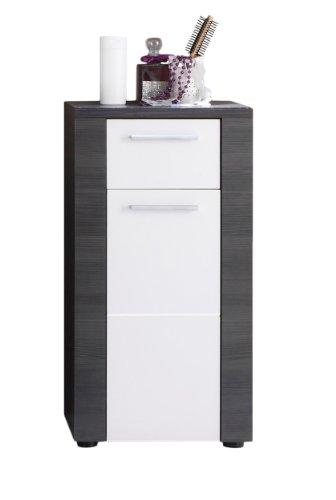 trendteam smart living Badezimmer Schrank Kommode Xpress , 40 x 78 x 28 cm in Korpus Esche Grau (Nb.), Front Weiß mit viel Stauraum