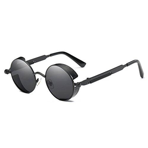 Surenhap Retro Sonnenbrille, Polarisierte Sonnenbrille im Steampunk Stil Fahrradbrille mit UV400 Schutz für Unisex Autofahren Laufen Radfahren Angeln (Schwarzer Rahmen, graue Linse)