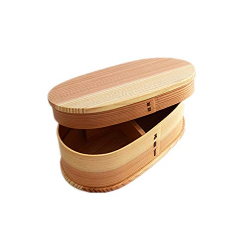 Syeytx Wooden Lunch Box-Single Layer Ash Lunch Box Sushi Box Wooden Single Wooden Lunch Box Tableware-Raw Wood Handmade-largeoval