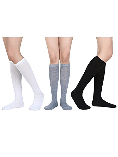 Damen Knie Hohe Socken Weiche Stiefel Socken Cosplay Socken für Party, Halloween, Schule, Eine Größe (Mehrfarbig 4, 3 (Knie Hohe Stiefel Socken Für)