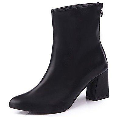 RTRY Scarpe Donna Pu Inverno Comfort Moda Stivali Stivali Chunky Tallone Punta Appuntita Per Casual Rosso Nero US7.5 / EU38 / UK5.5 / CN38