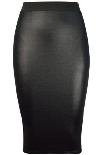fashion-4-less-womens-pvc-leatherette-wetlook-pencil-skirt-sm-uk8-10-black
