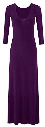 Neue Frauen Plus Size Plain Lange Jersey Scoop Neck Maxikleid 36-54 (Scoop Neck Langarm Kleid)