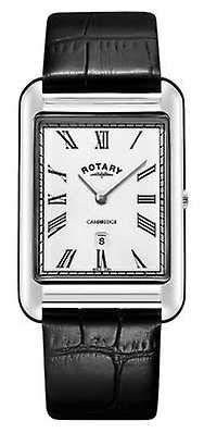 Rotary Orologio da uomo con cinturino in pelle nera quadrata con datario GS05280/01
