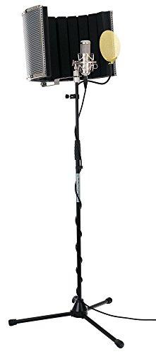 Pronomic CM-100S Studio Großmembranmikrofon XLR-Kondensatormikrofon inkl. Popkiller und Micscreen Set (mit Mikrofonspinne, Etui, Windschutz, Reduziergewinde, Mikro Popschutz, Absorber) silber (Großmembran Studio Mikrofon)