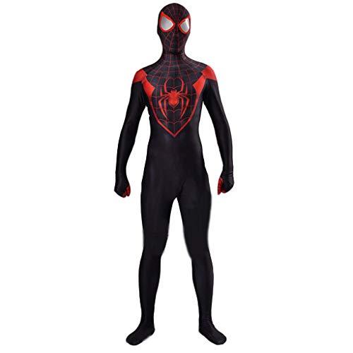 Haut Spiderman Zweite Kostüm - GanSouy Schwarzes Spiderman SuperSkin Kostüm - Erwachsene Unisex Männer und Frauen Zweite Haut | Zentai Onesie Kleidung Outfit Halloween Lycra,Spiderman-XXXL