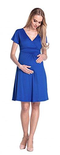 Happy Mama Femme. Robe de maternité drapée. Robe de cocktail de grossesse. 108p Bleu Royal