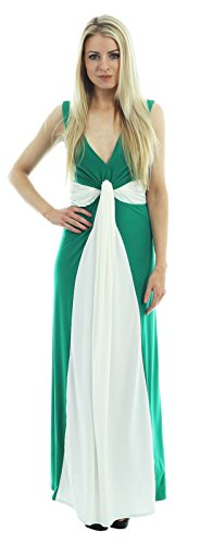 Chocolate Pickle ® Femmes Grande Taille Contraste Boob Noeud Maxi robe Jade Green-Cream