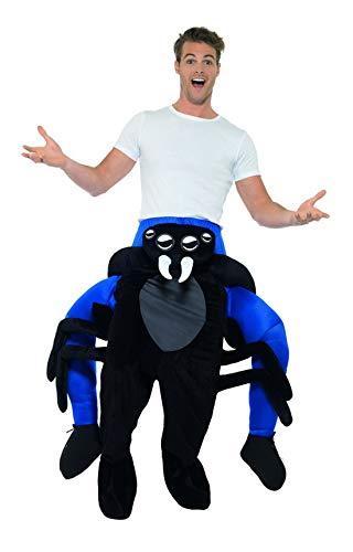änner Männer Huckepack Piggyback Kostüm, Spinne Spider trögt Dich, Einteiler Overall Jumpsuit, perfekt für Karneval, Fasching und Fastnacht, One Size, Schwarz ()