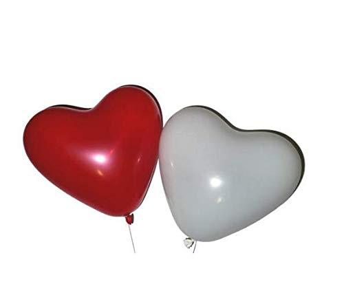Hemore 10 Globos de corazón Rojo y Blanco 10x - Apto para Globos de Gas con Forma de corazón