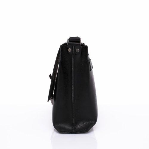 Slowbag SLOW SPOT Exklusive handgemachte Handtasche Schultertaschen für Männer Naturleder schwarz&schwarz