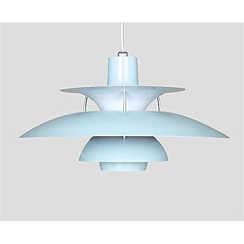 una luce Nordic creativa personalità soggiorno den ristorante semplice lampadario pasto piattino di alluminio testa singola ( colore : Blu )