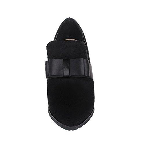 AgooLar Femme Suédé Couleur Unie Tire Pointu à Talon Bas Chaussures Légeres Noir