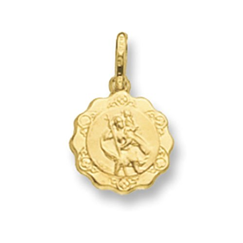 Or 9ct mailles jaseron creux Fancy St Christophe Pendentif sur un collier