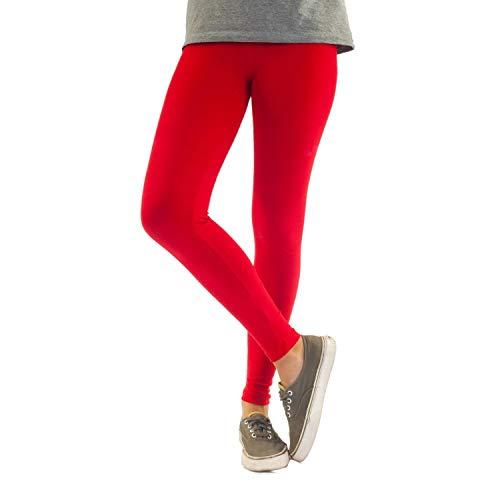 Blickdichte Damen Leggings aus Baumwolle Leggins Knöchellang in schwarz weiß grün grau rot gelb, Farbe: Rot, Größe: 36-38 (L)