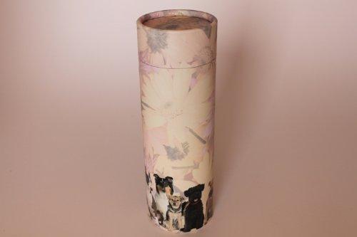 Kronos - Urne biodégradable avec disperseur de cendres avec figure de chiens - Dim : Cm. 10 x h Cm. 22,5; vol. lt 1,80