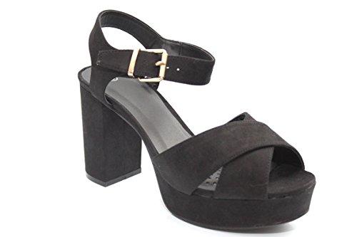 Pour 70de style noir Talons hauts à talon bloc opentoe Chaussures Taille 3–8 Noir - noir
