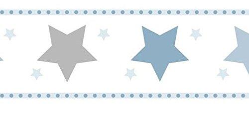 Bordüre selbstklebend in Papier waschbar und langlebig mit Sternen blau grau weiß 594–1treboli