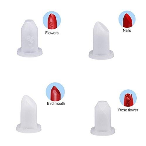 TOOGOO 4 comprimes 12.1mm supplement de rouge a levres tube de silicone fait maison die cosmetiques maison rouge a levres moule outils de beaute style de rouge a levres de silicone