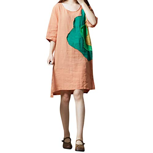 CANDLLY Kleider Damen, Sommer Mode Cute Holiday Elegant Böhmische Jahrgang Vintage Bettwäsche aus Baumwolle Gedruckt O-Hals Halbärmelig Loses knielanges Kleid(Orange,L