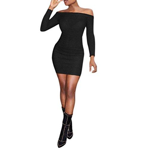 FORH Mode Damen Off Schulter Langarm Pullover Kleid Reizvolle Schulterfrei Bodycon Elegant Stretch Kleid Casual Strickpullover Party Abendkleid Bleistift Kleid (Schwarz, S) (Bleistift Mode)