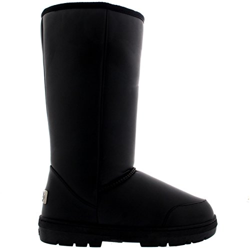 Damen Schuhe Classic Hoch Fell Schnee Regen Stiefel Winter Pelzstiefel - Schwarz Leder - BLL38 AEA0303 -