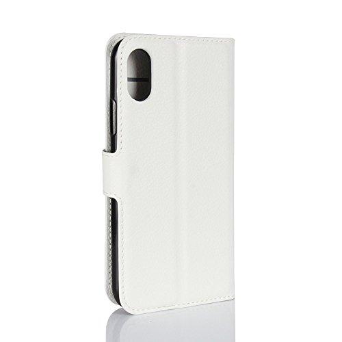 Coque iPhone X, AVIDET Bookstyle Étui Housse en Cuir Case à rabat pour iPhone X étui case cover coque avec fonction de support et fente (Rouge) Blanc