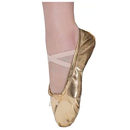 Ballettschläppchen Mädchen Ballett Tanzschuhe Kinder Ballettschuhe Damen Ballerinas Training Schläppchen Spitzenschuhe Gold Gr.31