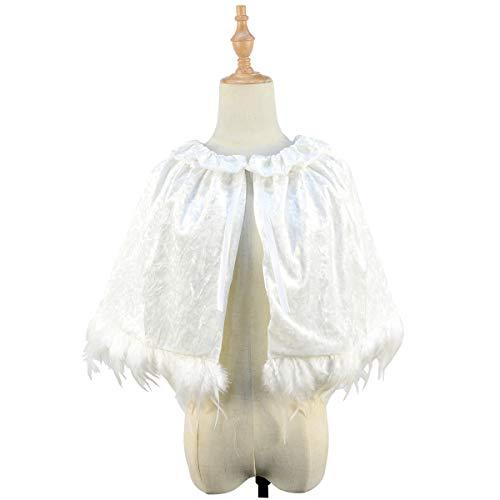 Homelex Damen Gothic Weiß Samt Echte Federn Quaste Capes Hochzeit Schal Umhang (YM-26)