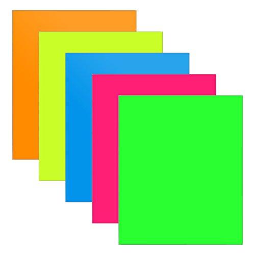 HTV Neon farbigen Wärmeübertragung Vinyl für T-Shirts Einfach, um Unkraut, 25,4cm von 30,5cm Rolle, 5Blatt Fluorescent Green/Pink / Blue/Yellow / Orange (Neon-orange Kissen)