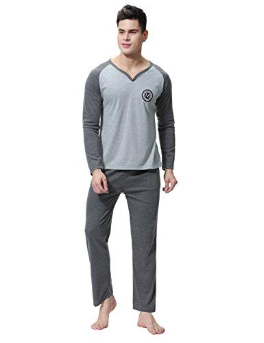 Aibrou Herren Schlafanzug Pyjama Baumwolle Zweiteilig Nachtwäsche Set Lang Grau S (Grau Herren-nachtwäsche)