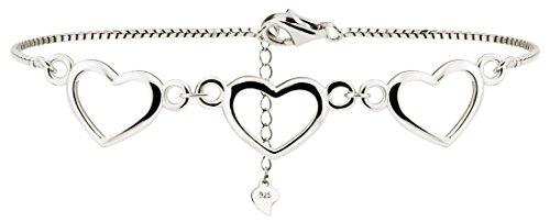 Meranu Damen-Armband 925 Silber Herz Armkette 3 Herzchen Herzkette - rhodiniert - Kettchen 17 cm