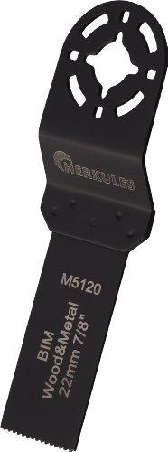 Herkules M5120 Lame de scie bimétal pour ponceuse vibrante multifonction sur bois, agglos, plastique, aluminium, tôle d'acier, métaux non ferreux 48 x 22 x 0,8 mm 18 dpp