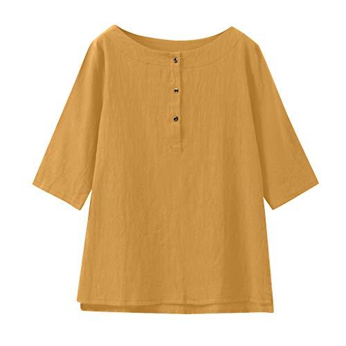 Dorical Damen 3/4 Ärmel Baumwoll Leinen Jacquard Oberseiten, Mode Sommer Herbst Klassisches Vintage T-Shirt Chinesisch Rundhals Tunika Bluse Lose Casual Tops S-XXL Ausverkauf(Gelb,X-Large)