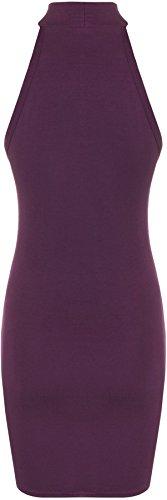 WearAll - Damen Strappy Strecke Bodycon Kurz Ärmellos Rollkragen Top Mini Kleid - 6 Farben - Größe 36-42 Violett