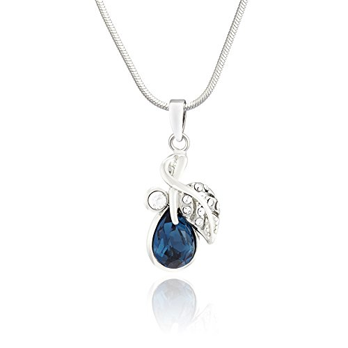 Mahi Valentine Rhodium Plated Montana Blue berry Marquise Pendant Made with Swarovski Elements for Women PS1194107RBlu