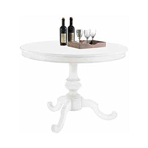 Tavolo tondo con diametro 100, stile classico, in legno massello e mdf con ri...