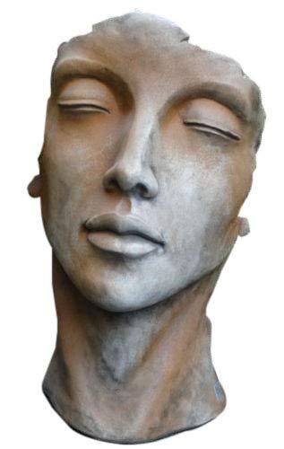 Skulptur Portrait Gesicht Frau H53cm Rosteffekt Steinguss Steinfigur Vidroflor Gartenskulptur + Original Pflegeanleitung von Steinfigurenwelt Giessen