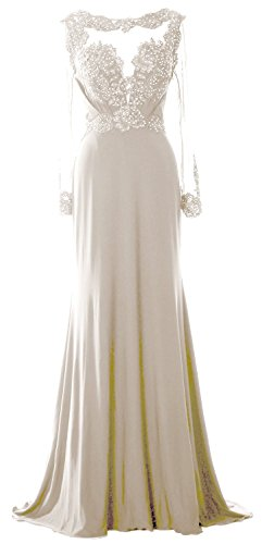 MACloth Women Long Sleeve Beaded Lace Mother of Brides Dress Formal Evening Gown (EU58, Marfil)