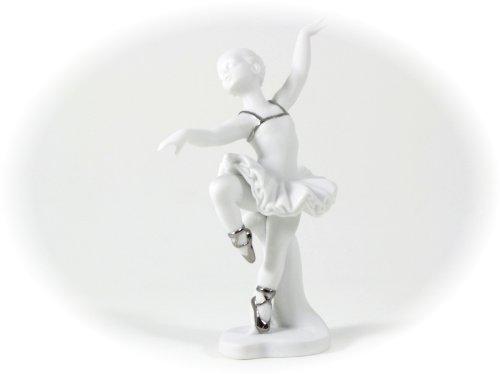 Bomboniera Solidale Cuorematto Ballerina h12,5 Biscuit Platino Porcellana. 12,5cm- Matrimonio