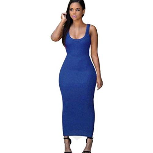Fami Robe Long Summer Femmes Sexy Bandage Bodycon de Cocktail Party Bleu